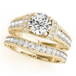 1.61 CTW Certified VS/SI Diamond Solitaire 2Pc Wedding Set Antique 14K Yellow Gold - REF-238N2Y - 31