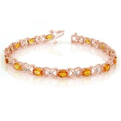 10.15 CTW Yellow Sapphire & Diamond Bracelet 18K Rose Gold - REF-163T6M - 10918
