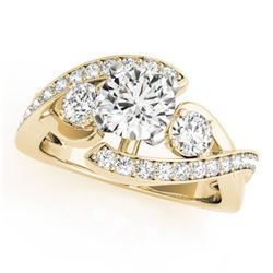 2.26 CTW Certified VS/SI Diamond Bypass Solitaire Ring 18K Yellow Gold - REF-635K8W - 27674