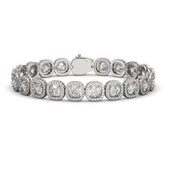 16.54 CTW Cushion Diamond Designer Bracelet 18K White Gold - REF-3061F6N - 42716