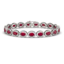 15.2 CTW Ruby & Diamond Halo Bracelet 10K White Gold - REF-255H3A - 40454