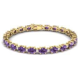 25.8 CTW Amethyst & VS/SI Certified Diamond Eternity Bracelet 10K Yellow Gold - REF-122A9X - 29443