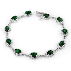 10.40 CTW Emerald & Diamond Bracelet 14K White Gold - REF-115W8F - 10781
