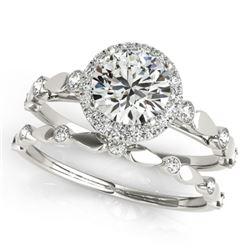 0.86 CTW Certified VS/SI Diamond 2Pc Wedding Set Solitaire Halo 14K White Gold - REF-123M6H - 30855