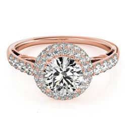 1.65 CTW Certified VS/SI Diamond Solitaire Halo Ring 18K Rose Gold - REF-411X8T - 26498