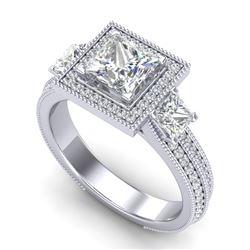 2.5 CTW Princess VS/SI Diamond Micro Pave 3 Stone Ring 18K White Gold - REF-527M3H - 37196