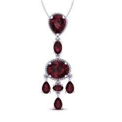 8 CTW Garnet Necklace Designer Vintage 10K White Gold - REF-34T4M - 20402