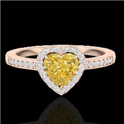 1 CTW Citrine & Micro Pave Ring Heart Halo 14K Rose Gold - REF-34W9F - 21402