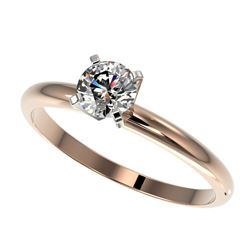 0.55 CTW Certified H-SI/I Quality Diamond Solitaire Engagement Ring 10K Rose Gold - REF-65F5N - 3637