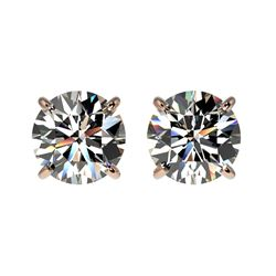 1.59 CTW Certified H-SI/I Quality Diamond Solitaire Stud Earrings 10K Rose Gold - REF-183T2M - 36610