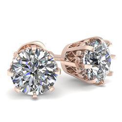 1.0 CTW VS/SI Diamond Stud Solitaire Earrings 18K Rose Gold - REF-178W2F - 35663