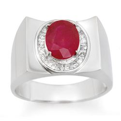 3.33 CTW Ruby & Diamond Men's Ring 10K White Gold - REF-58Y4K - 14477