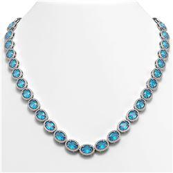 55.41 CTW Swiss Topaz & Diamond Halo Necklace 10K White Gold - REF-681T8M - 40586