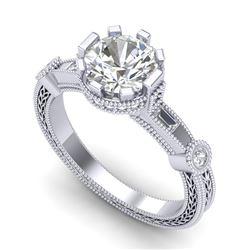 1.71 CTW VS/SI Diamond Art Deco Ring 18K White Gold - REF-536N4Y - 37061