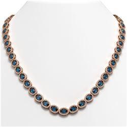 33.25 CTW London Topaz & Diamond Halo Necklace 10K Rose Gold - REF-511F3N - 40437