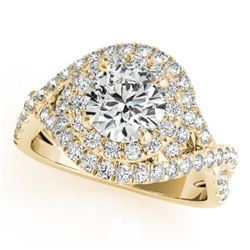 1.5 CTW Certified VS/SI Diamond Solitaire Halo Ring 18K Yellow Gold - REF-247A3X - 26636