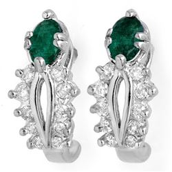 0.85 CTW Emerald & Diamond Earrings 14K White Gold - REF-43T3M - 10560