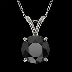 1 CTW Fancy Black VS Diamond Solitaire Necklace 10K White Gold - REF-26M3H - 33185