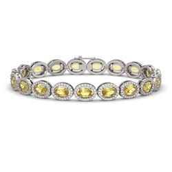 12.73 CTW Fancy Citrine & Diamond Halo Bracelet 10K White Gold - REF-226F9N - 40493