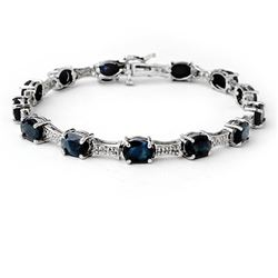 11.39 CTW Blue Sapphire & Diamond Bracelet 14K White Gold - REF-135X6T - 14166