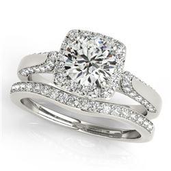 1.64 CTW Certified VS/SI Diamond 2Pc Wedding Set Solitaire Halo 14K White Gold - REF-228F8N - 30708
