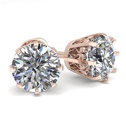 2.0 CTW VS/SI Diamond Stud Solitaire Earrings 18K Rose Gold - REF-518F2N - 35684