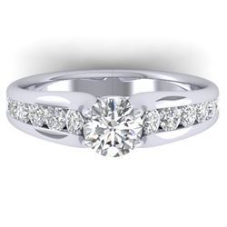 1.37 CTW Certified VS/SI Diamond Solitaire Ring 14K White Gold - REF-203X3T - 30414