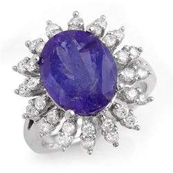 7.38 CTW Tanzanite & Diamond Ring 18K White Gold - REF-299Y3K - 13796