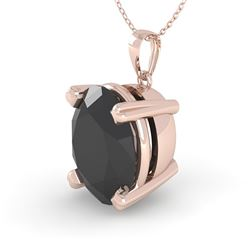 5.0 CTW Oval Black Diamond Designer Necklace 14K Rose Gold - REF-114Y9K - 38433