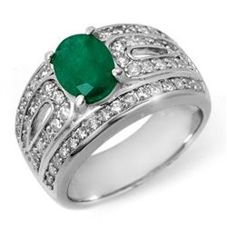 2.44 CTW Emerald & Diamond Ring 14K White Gold - REF-115A8X - 11823