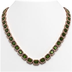 60.49 CTW Tourmaline & Diamond Halo Necklace 10K Rose Gold - REF-928H2A - 41352