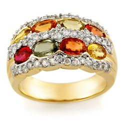 3.75 CTW Multi-Sapphire & Diamond Ring 14K Yellow Gold - REF-105T5M - 11629