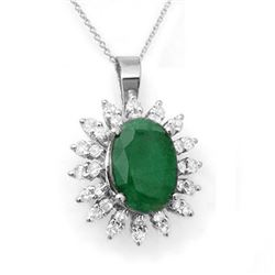 6.21 CTW Emerald & Diamond Pendant 18K White Gold - REF-109M8H - 12840