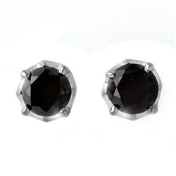 2.50 CTW VS Certified Black Diamond Solitaire Stud Earrings 14K White Gold - REF-74W8F - 11802