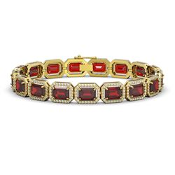 26.21 CTW Garnet & Diamond Halo Bracelet 10K Yellow Gold - REF-301A8X - 41425