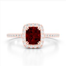 1.25 CTW Garnet & Micro Pave VS/SI Diamond Halo Ring 10K Rose Gold - REF-33H3A - 22904