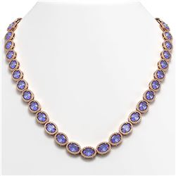 48.65 CTW Tanzanite & Diamond Halo Necklace 10K Rose Gold - REF-797A3X - 40563