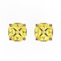 3 CTW Cushion Cut Citrine Designer Solitaire Stud Earrings 14K Rose Gold - REF-17H3A - 21737