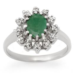 1.46 CTW Emerald & Diamond Ring 18K White Gold - REF-43X3T - 12440