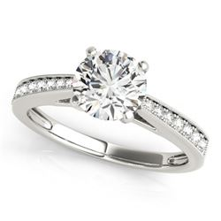0.75 CTW Certified VS/SI Diamond Solitaire Ring 18K White Gold - REF-130F2N - 27612