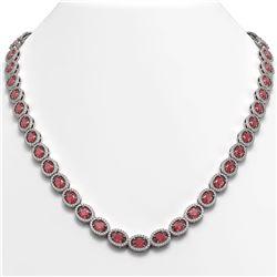 31.1 CTW Tourmaline & Diamond Halo Necklace 10K White Gold - REF-600X2T - 40418