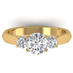1.5 CTW Certified VS/SI Diamond Solitaire 3 Stone Ring 14K Yellow Gold - REF-395Y5K - 30314