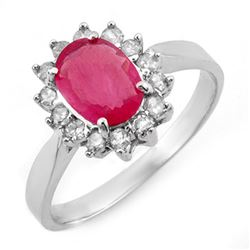 1.27 CTW Ruby & Diamond Ring 10K White Gold - REF-24H5A - 10094