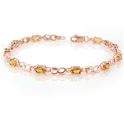 3.51 CTW Yellow Sapphire & Diamond Bracelet 14K Rose Gold - REF-49K5W - 11035