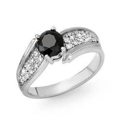 1.40 CTW VS Certified Black & White Diamond Ring 18K White Gold - REF-86T8M - 14089