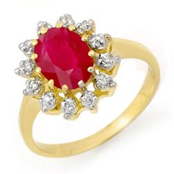 1.22 CTW Ruby & Diamond Ring 10K Yellow Gold - REF-23W5F - 13219
