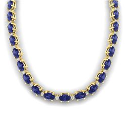 46.5 CTW Tanzanite & VS/SI Certified Diamond Eternity Necklace 10K Yellow Gold - REF-439F5N - 29437