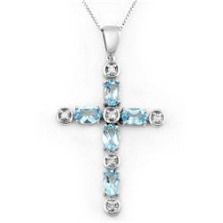 3.15 CTW Blue Topaz & Diamond Necklace 10K White Gold - REF-33X6T - 10777