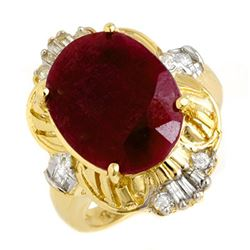 7.84 CTW Ruby & Diamond Ring 14K Yellow Gold - REF-100K2W - 13239