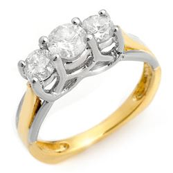 1.35 CTW Certified VS/SI Diamond Ring 14K 2-Tone Gold - REF-162K4W - 10151